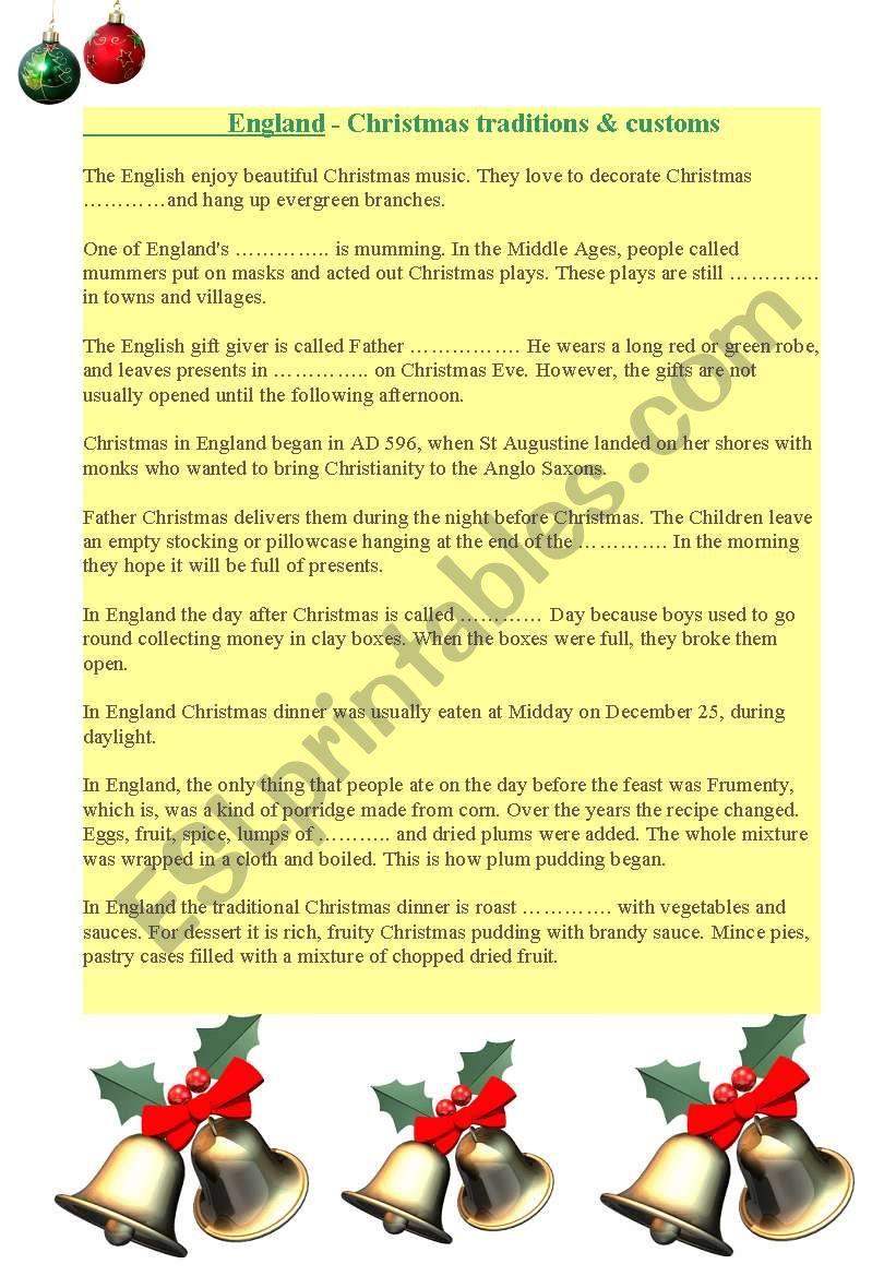 Christmas Traditions - Esl Worksheetolgierdzik