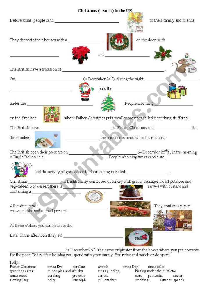 Christmas Traditions In The Uk   Esl Worksheet