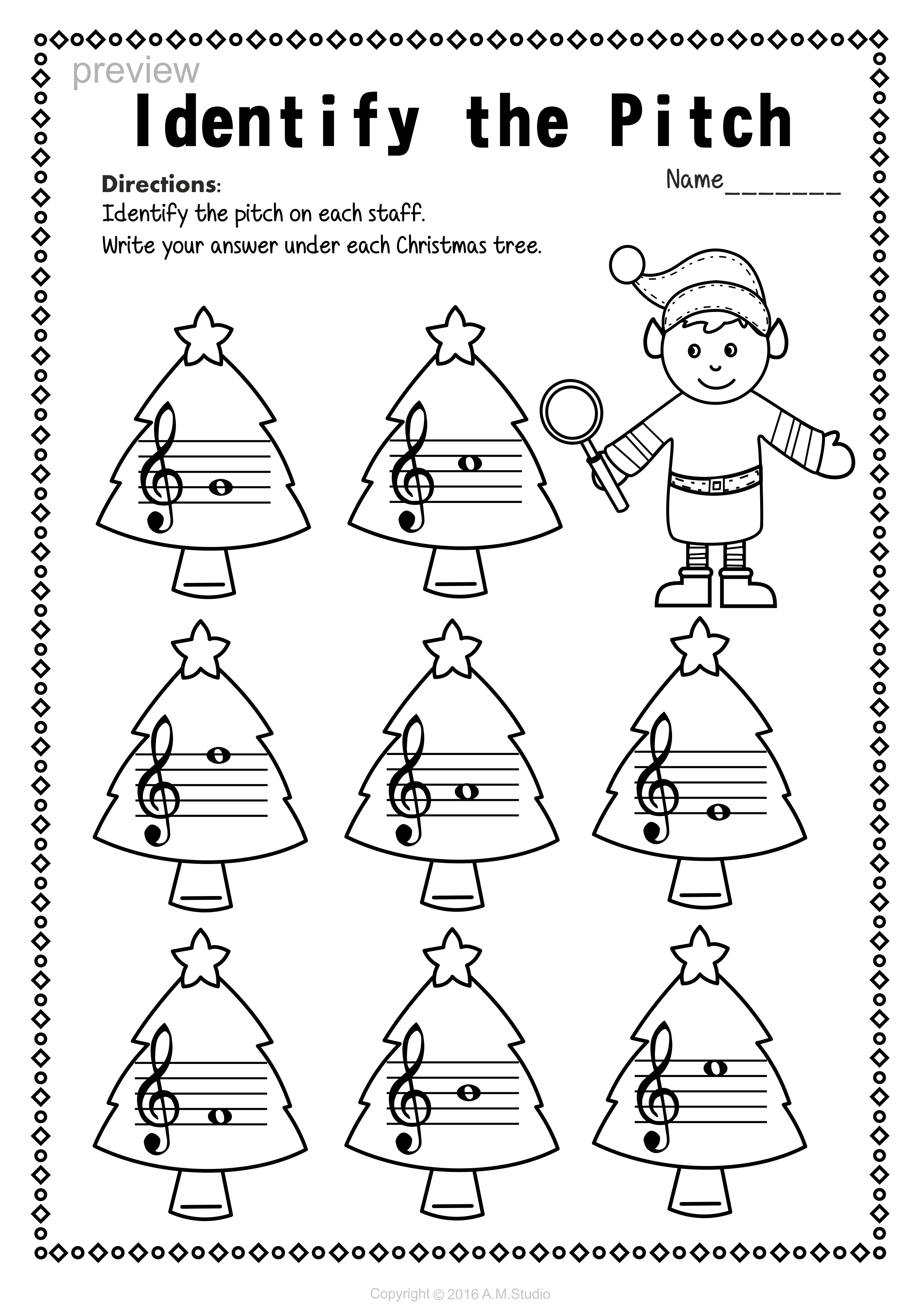 Christmas Treble Clef Note Reading Worksheets   Christmas