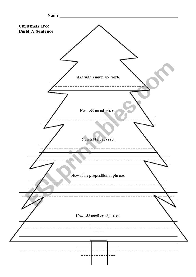 Christmas Tree Build-A-Sentence - Esl Worksheetkiverson