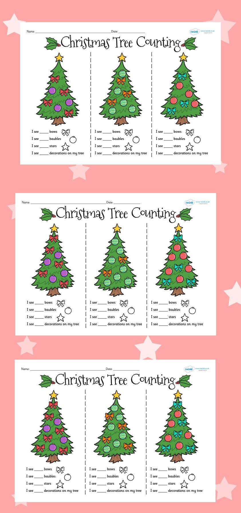 Christmas Tree Counting Worksheets | Christmas Classroom