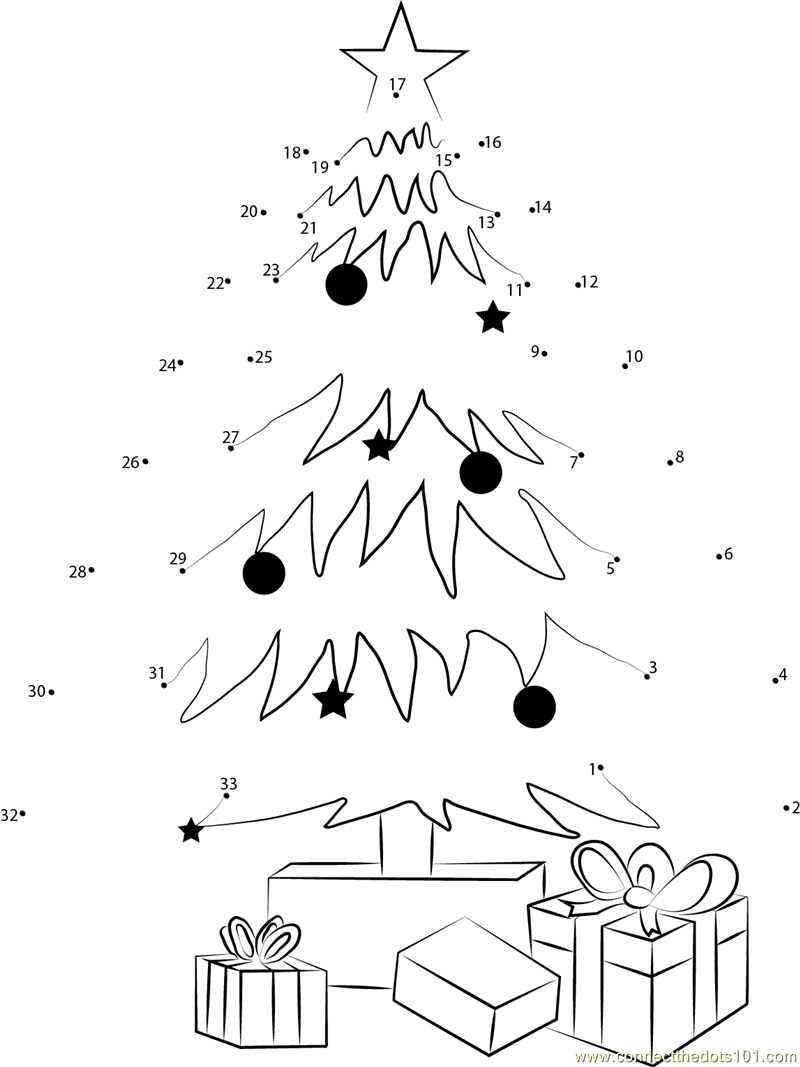 Christmas Tree Decorating And Gifts Dot To Dot Printable