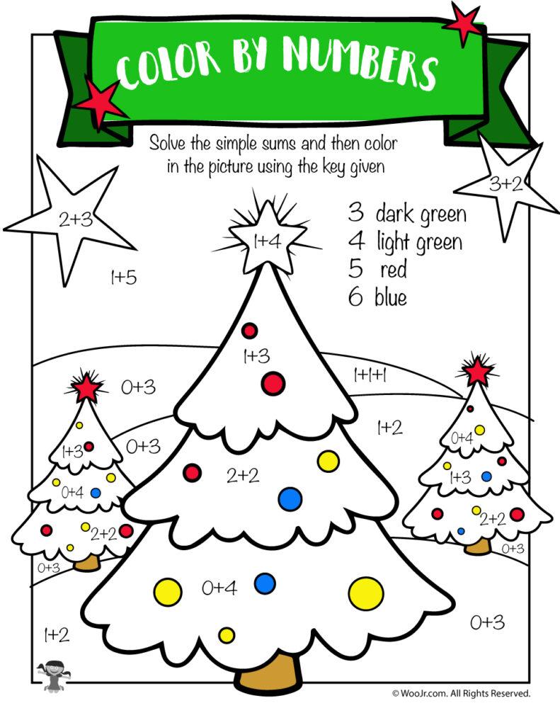 Christmas Tree Math Addition Worksheet   Woo! Jr. Kids