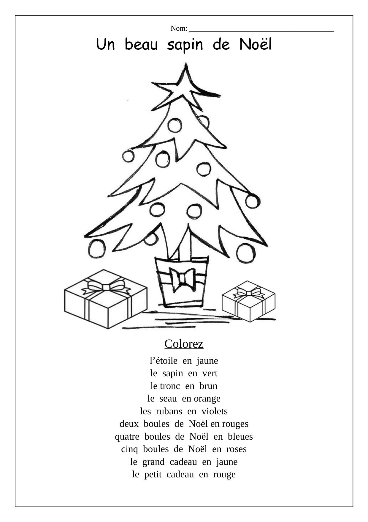 Christmas Tree Preschool Worksheets Printable And Cursive