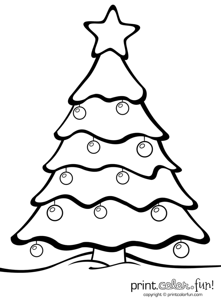 Christmas Tree With Ornaments | Print. Color. Fun! Free