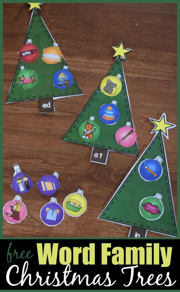 Christmas Tree Word Families Activity