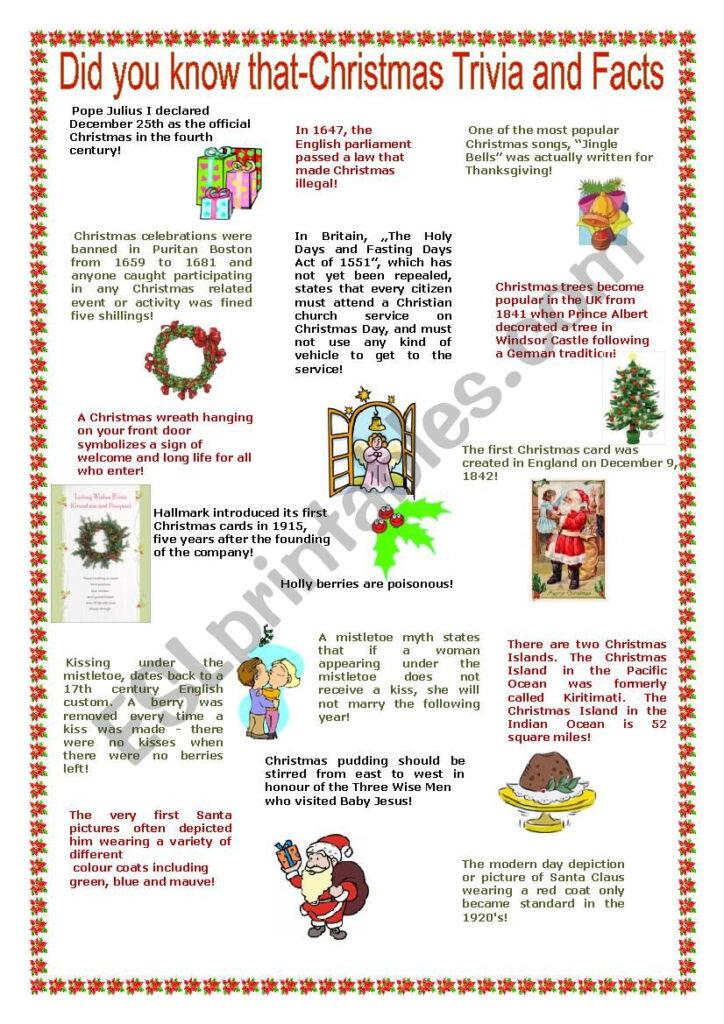 Christmas Trivia And Facts   Reuploaded   Esl Worksheet