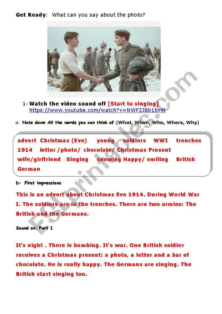 Christmas Truce Advert [1914 Wwi]   Esl Worksheetaurore