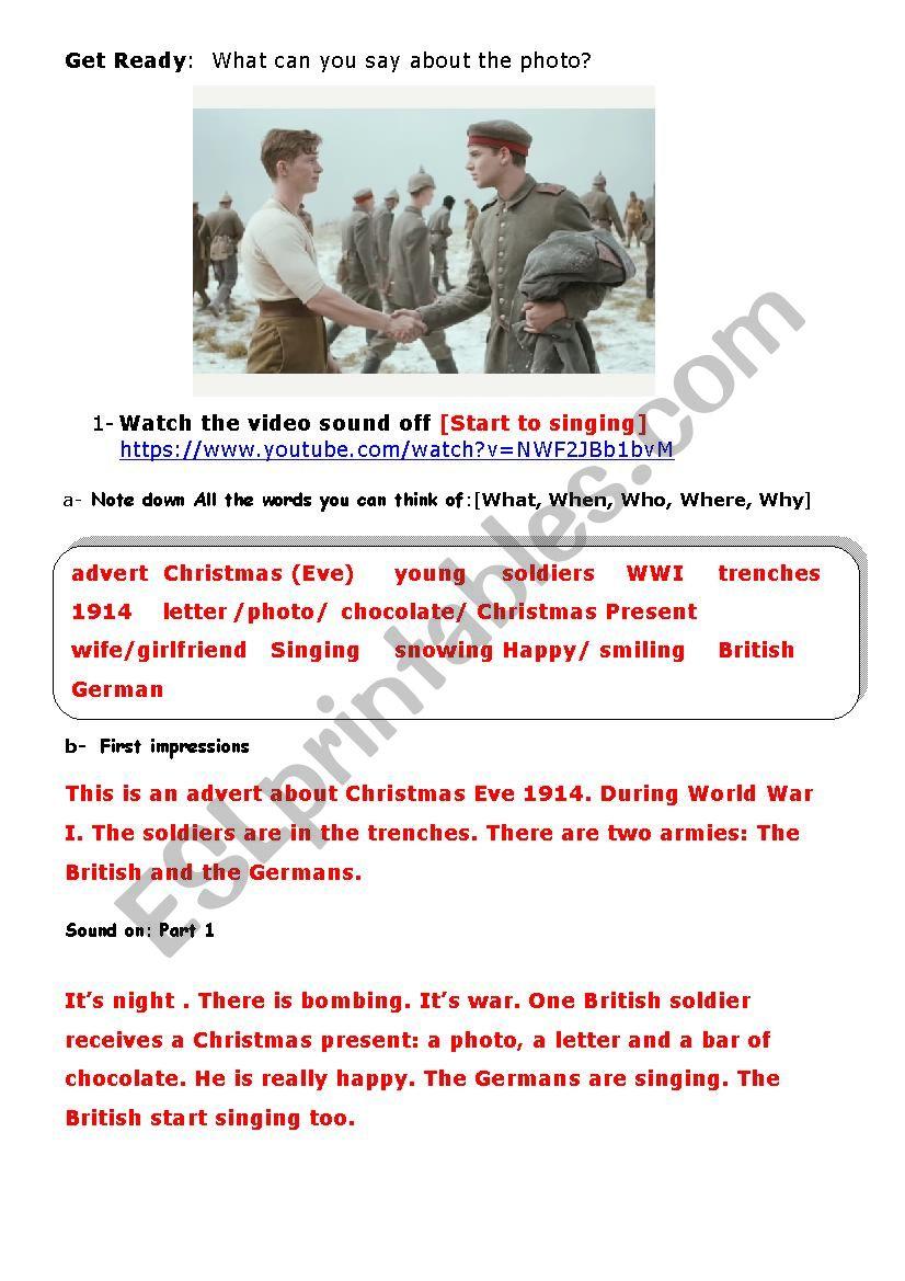 Christmas Truce Advert [1914 Wwi] - Esl Worksheetaurore