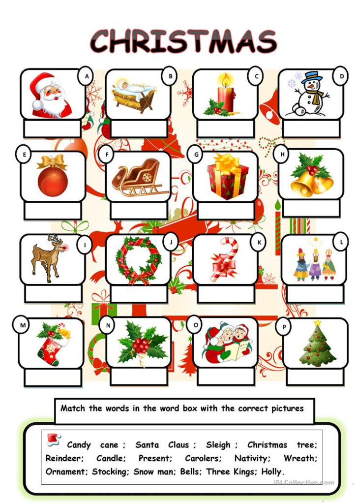 Christmas Vocabulary   English Esl Worksheets For Distance