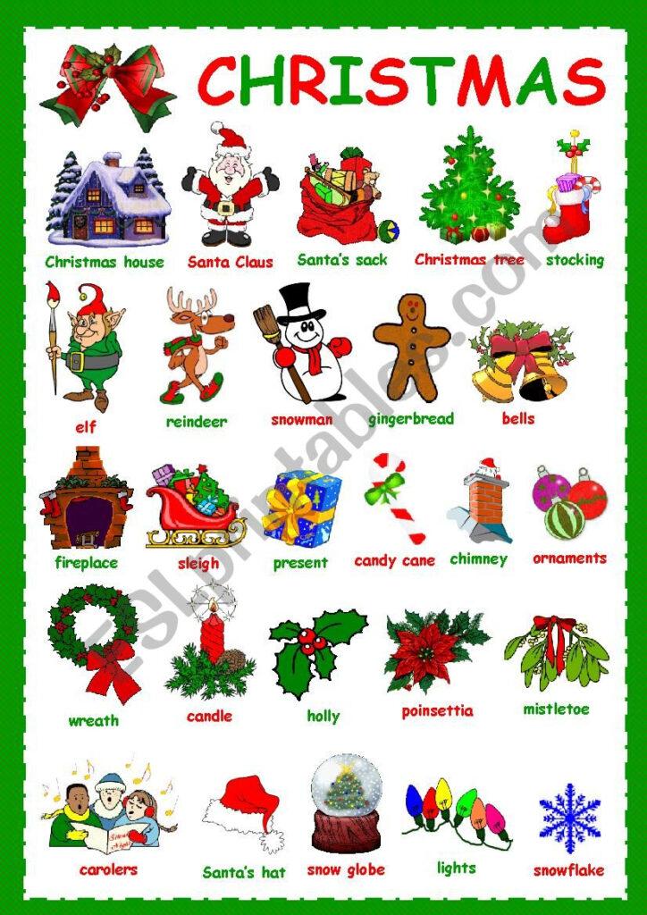 Christmas Vocabulary   Esl Worksheetkosamysh