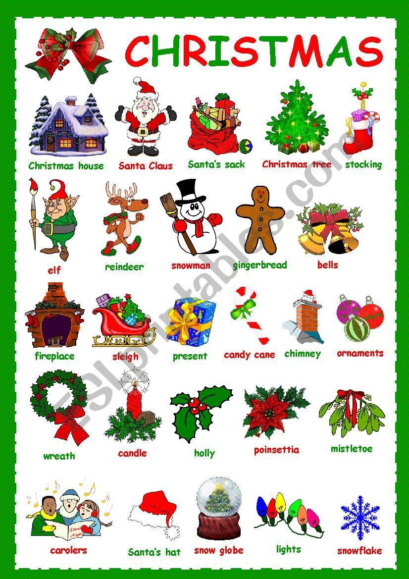 Christmas Vocabulary - Esl Worksheetkosamysh