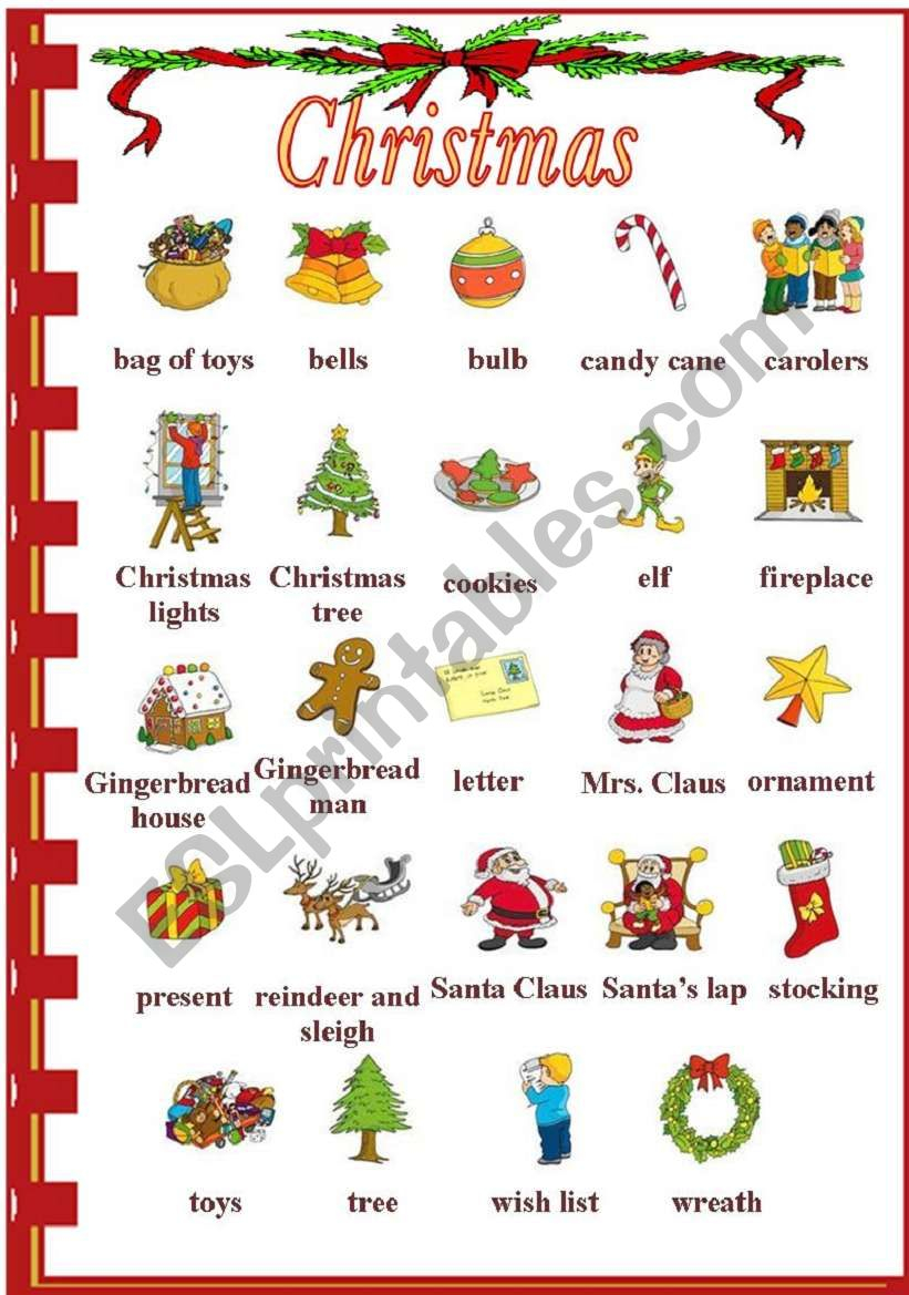 Christmas Vocabulary - Esl Worksheetvanda51