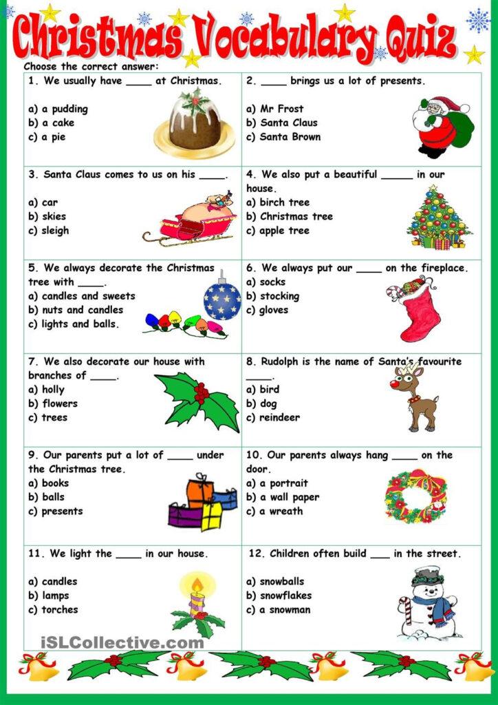Christmas Vocabulary Quiz | Christmas Worksheets, Vocabulary