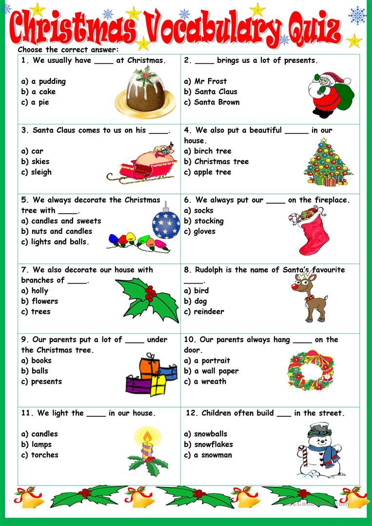 Christmas Vocabulary Quiz - English Esl Worksheets For