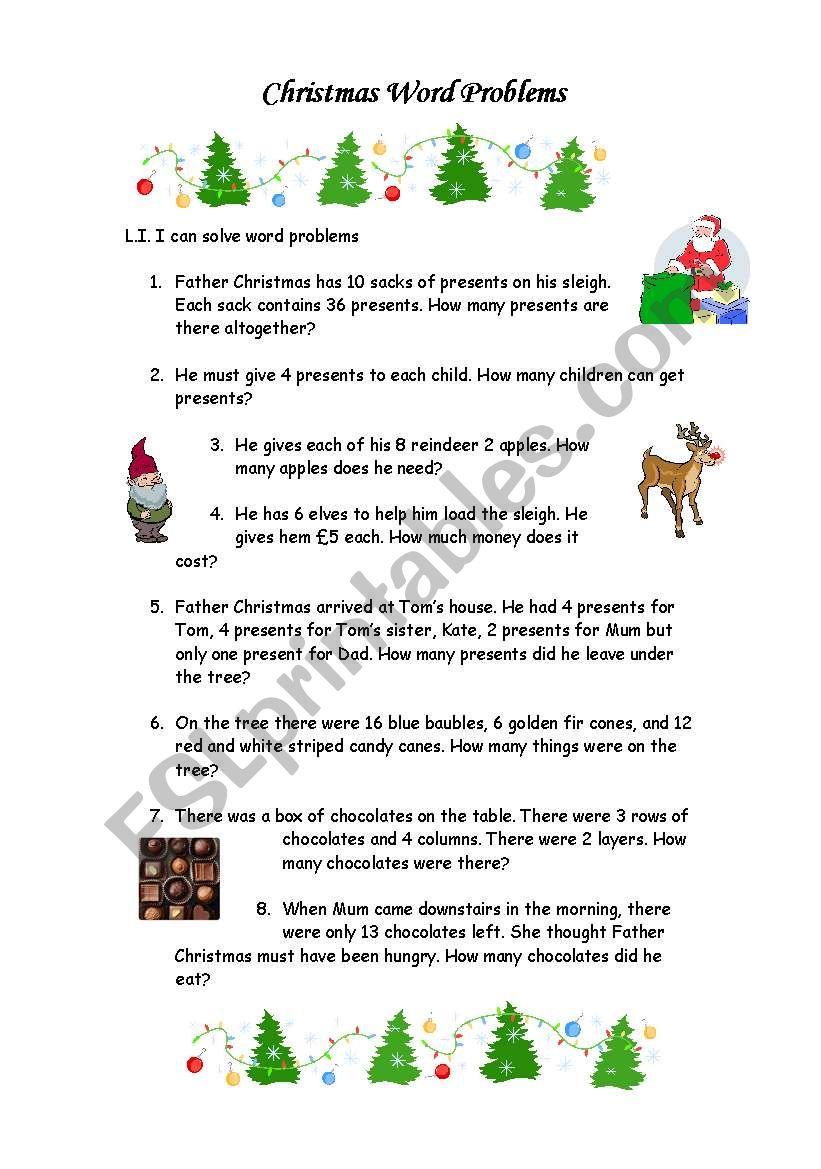 Christmas Word Problems - Esl Worksheetemmywest2011