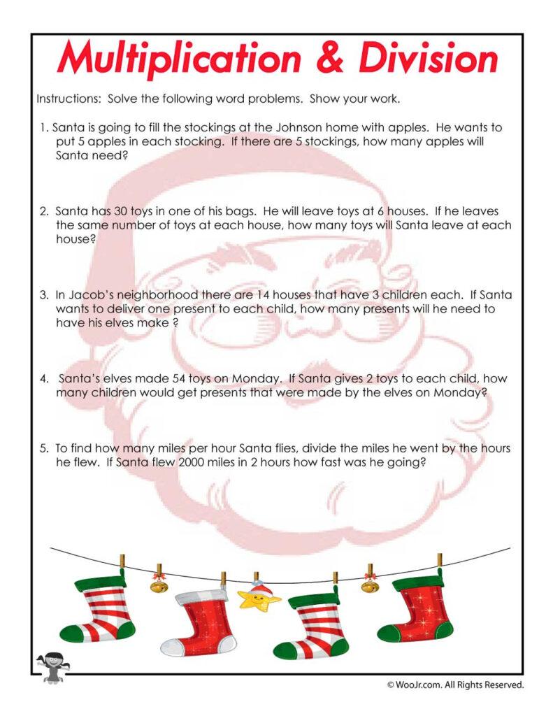 Christmas Word Problems Worksheet   Woo! Jr. Kids Activities