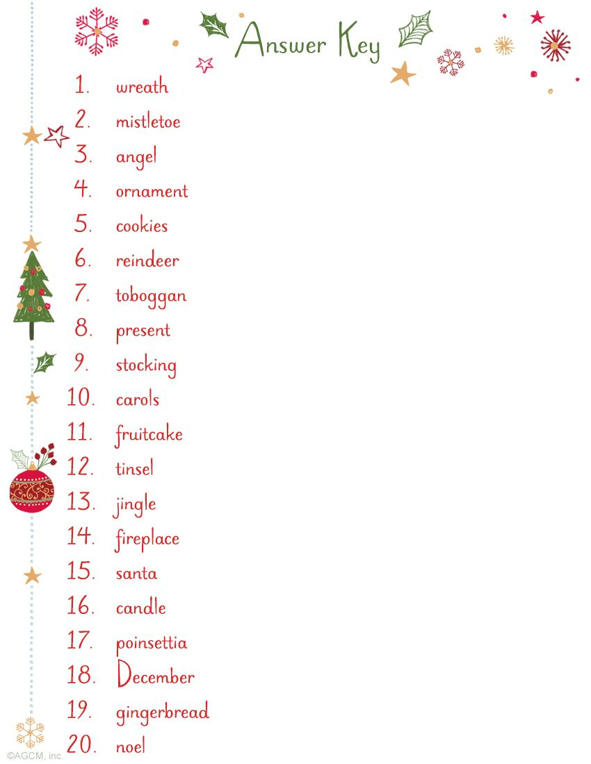 Christmas Word Scramble Answer Key   Christmas Word Scramble