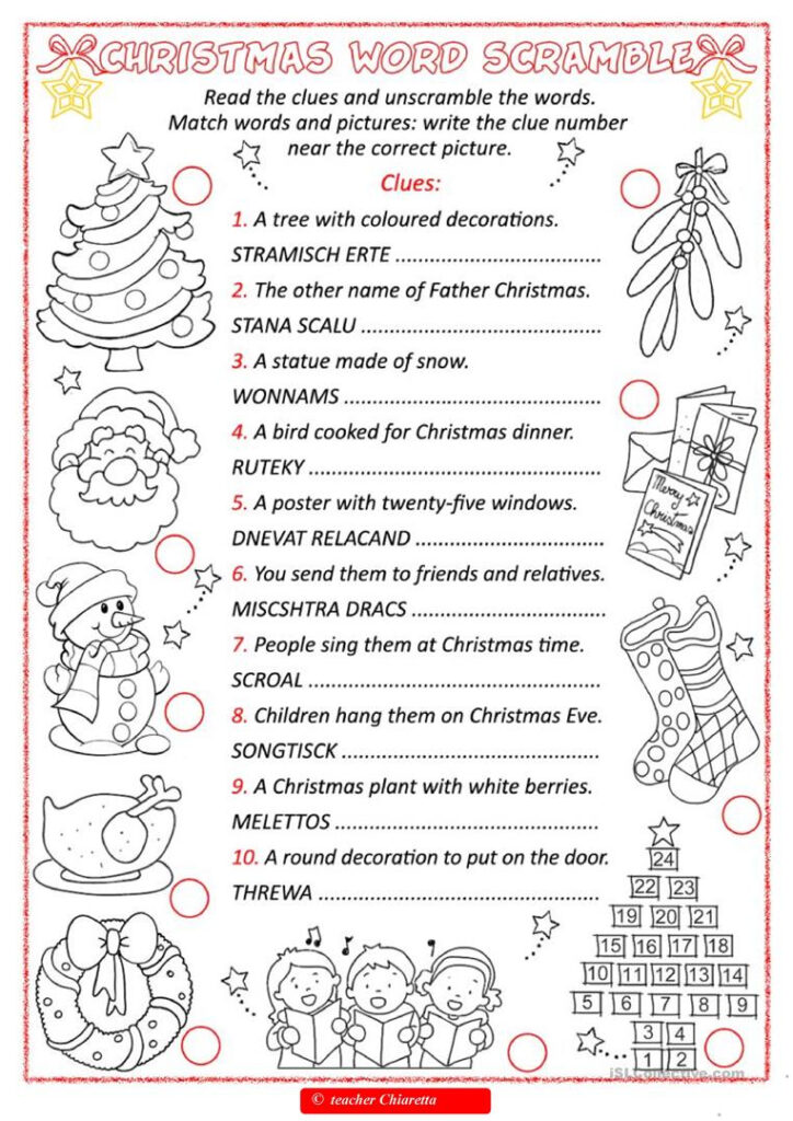 Christmas Word Scramble   English Esl Worksheets For