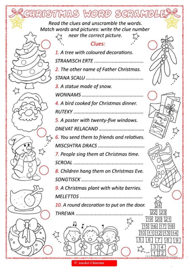 Christmas Word Scramble   English Esl Worksheets For