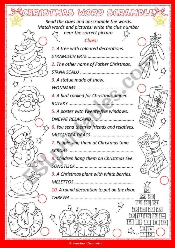 Christmas Word Scramble   Esl Worksheetchiaretta