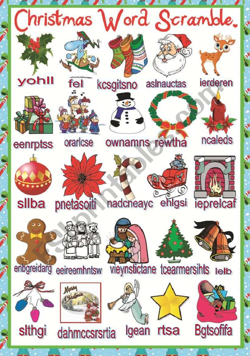 Christmas Word Scramble - Esl Worksheetmafaldita2009
