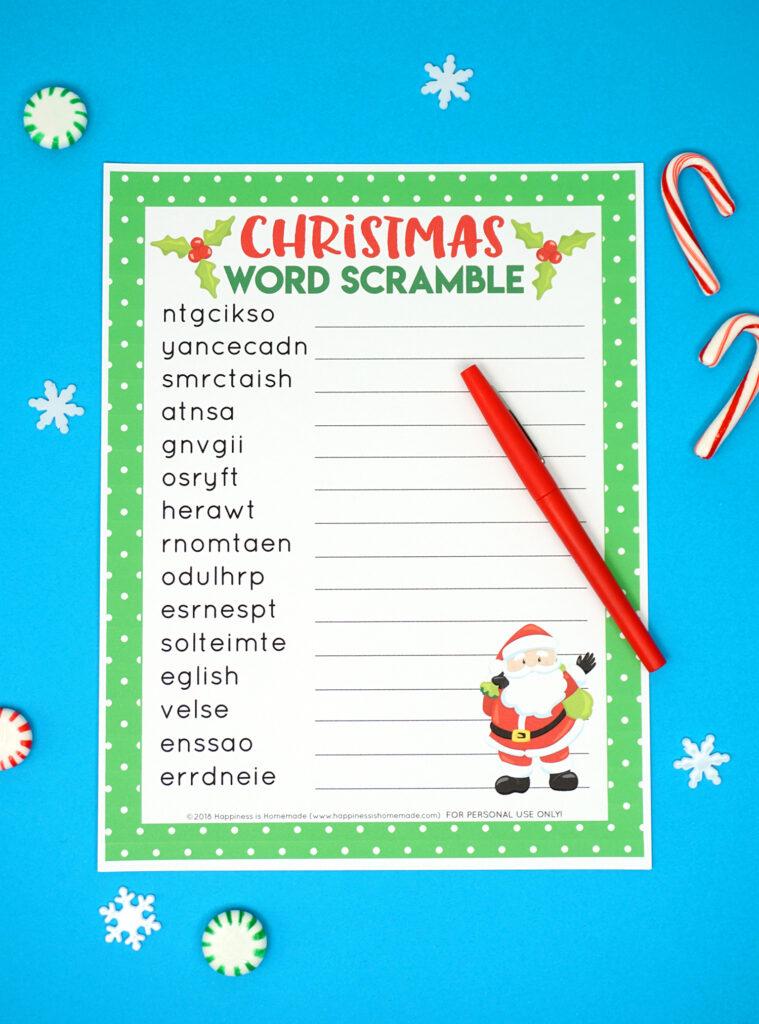 Christmas Word Scramble Printable   Happiness Is Homemade