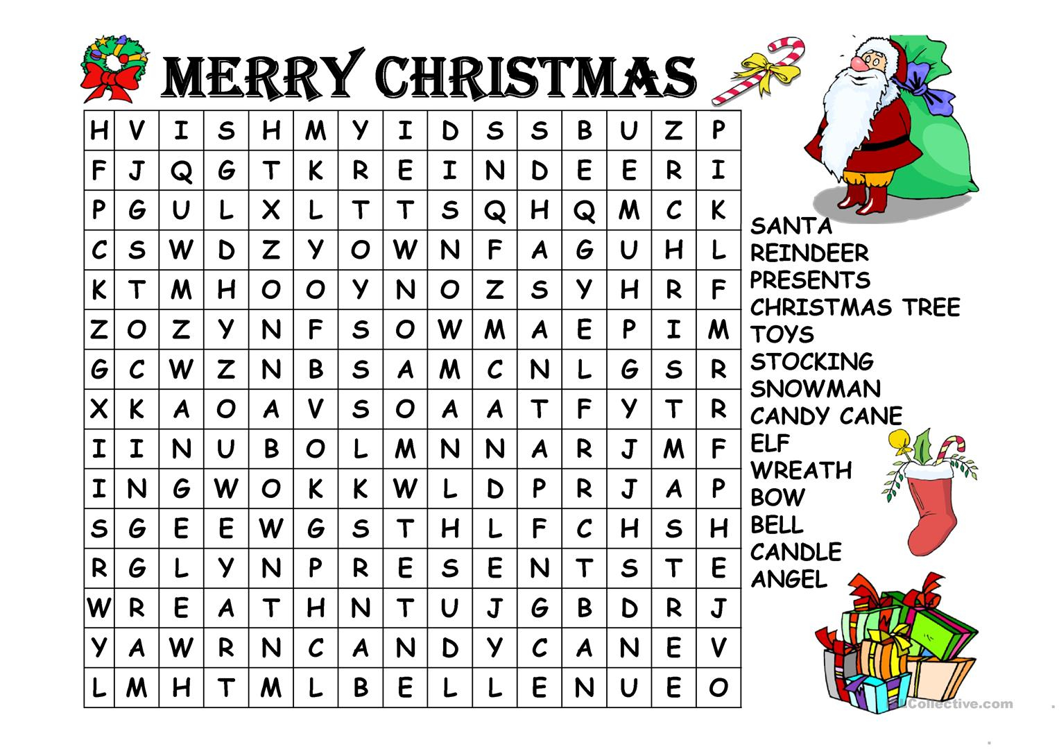 Christmas Word Search - English Esl Powerpoints For Distance