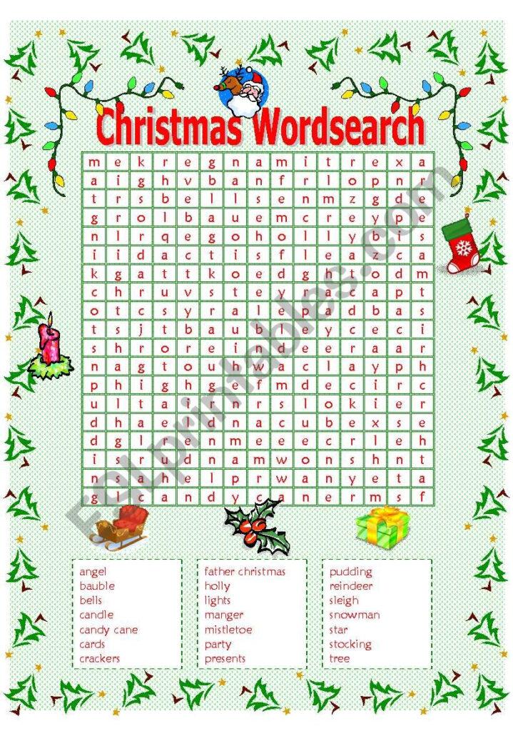 Christmas Wordsearch   Esl Worksheetmowells