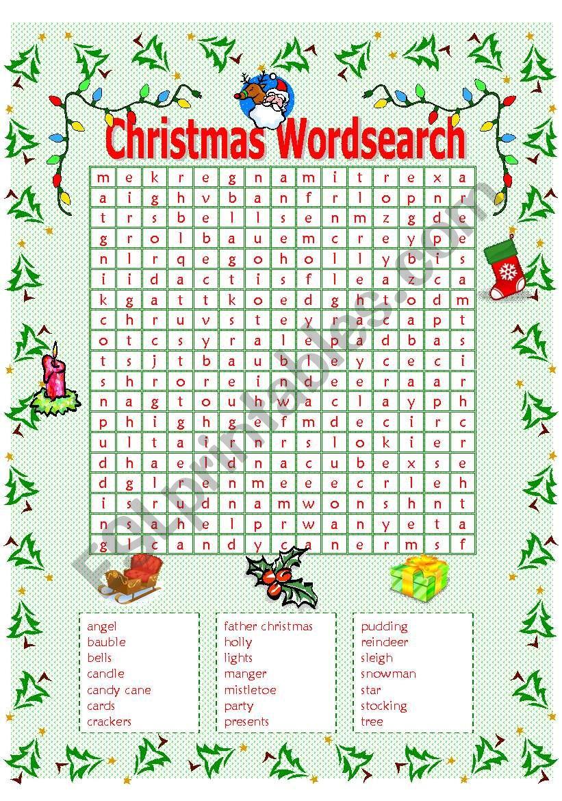 Christmas Wordsearch - Esl Worksheetmowells