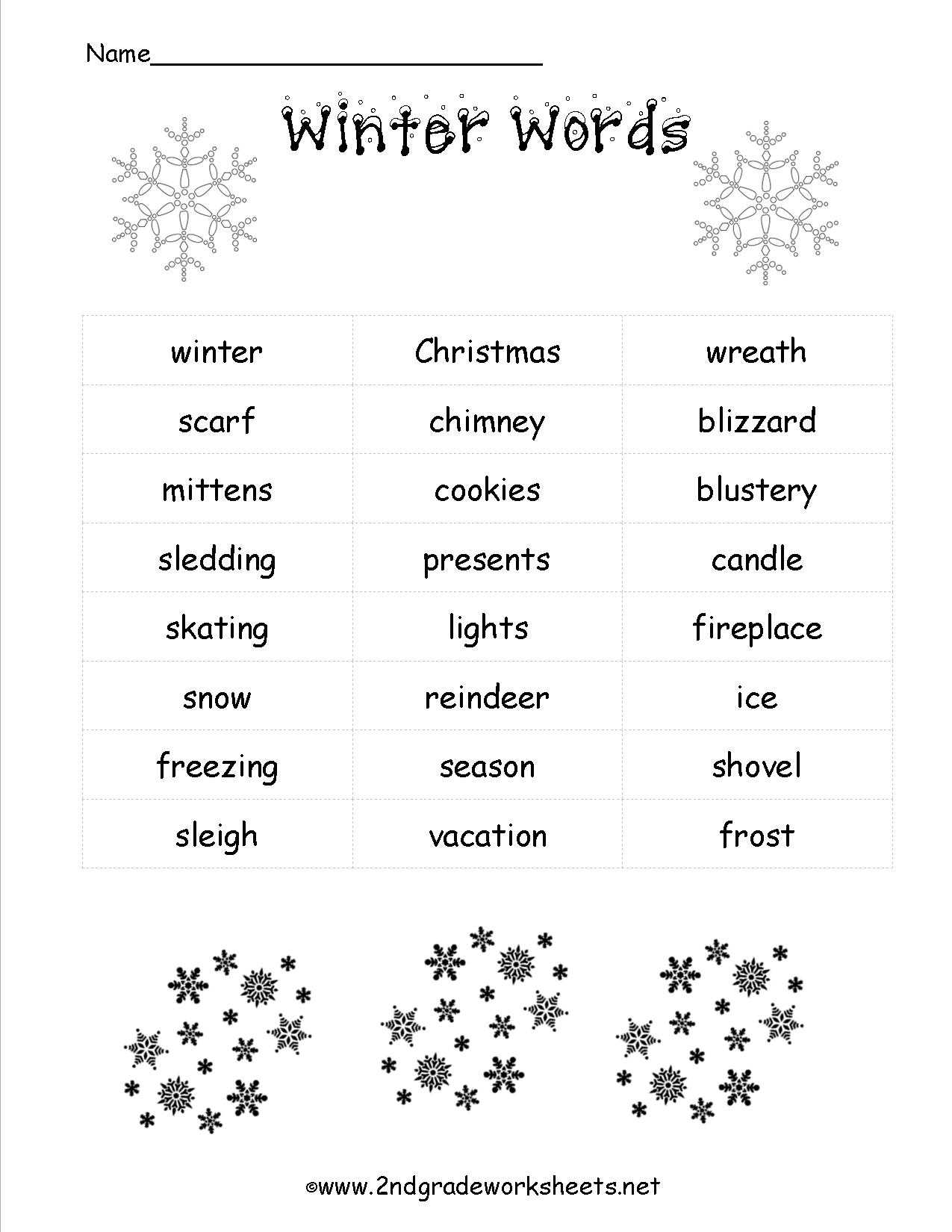 Christmas Worksheets And Printouts Free Winterwordlist