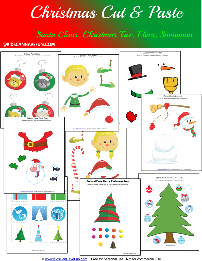 Christmas Worksheets For Kids, Fun Math, Cut And Paste