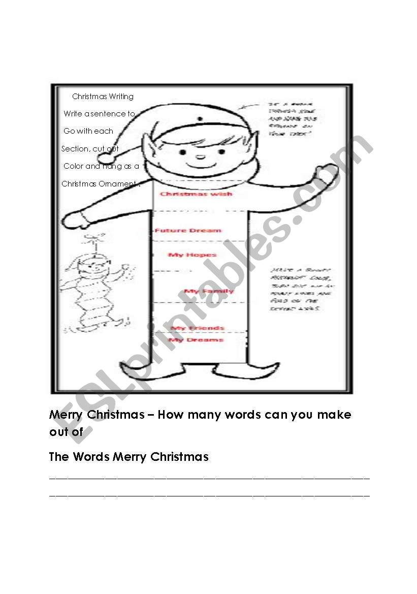 Christmas Writing, Ornament And Word Find - Esl Worksheet