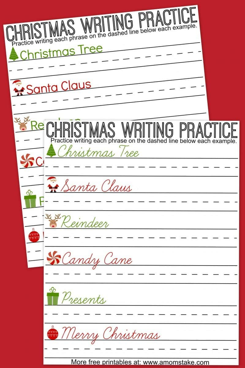 Christmas Writing Practice Sheets - A Mom's Take