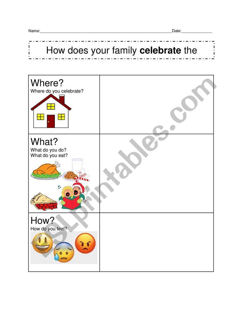Christmas Writing Prompt Graphic Organizer - Esl Worksheet