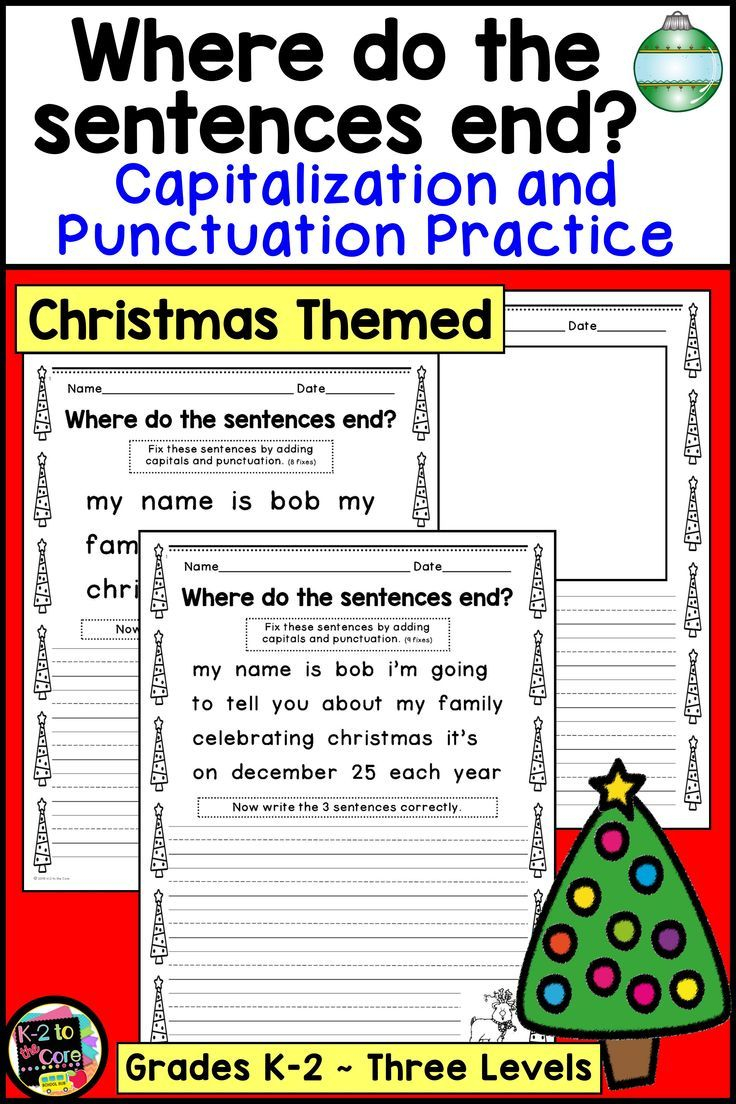 Christmas Writing Punctuation And Capitalization Practice