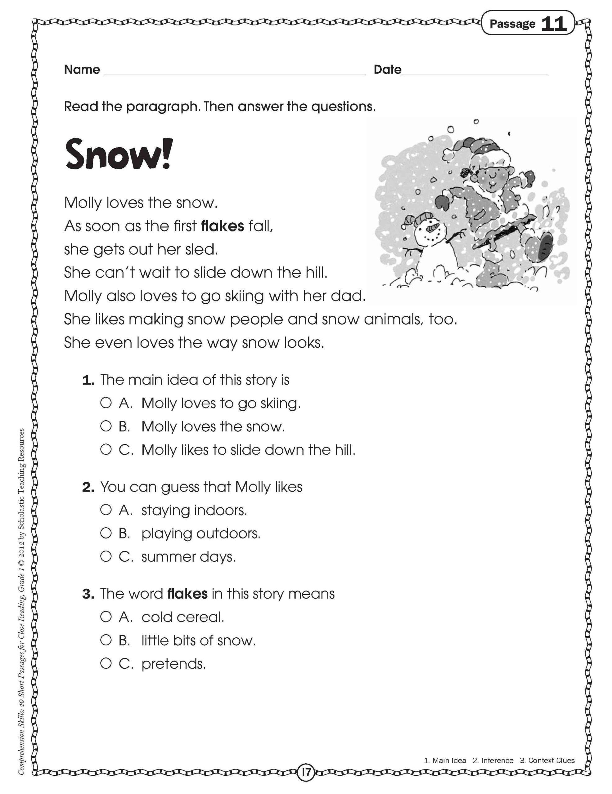 Close Reading For Grade One   Comprehension Worksheets