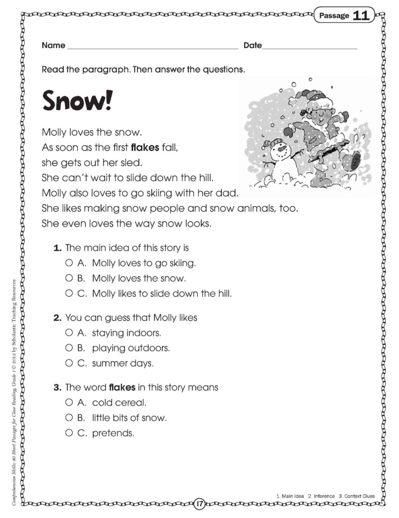Close Reading For Grade One | Comprehension Worksheets