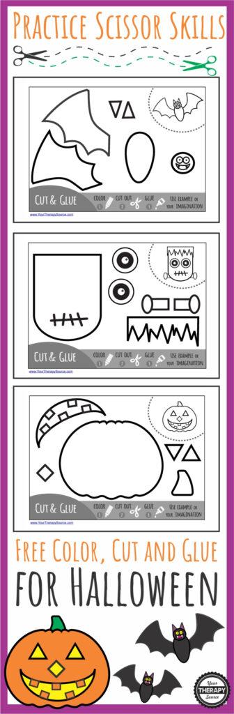 Color Cut Glue Halloween   Practice Scissor Skills   Your