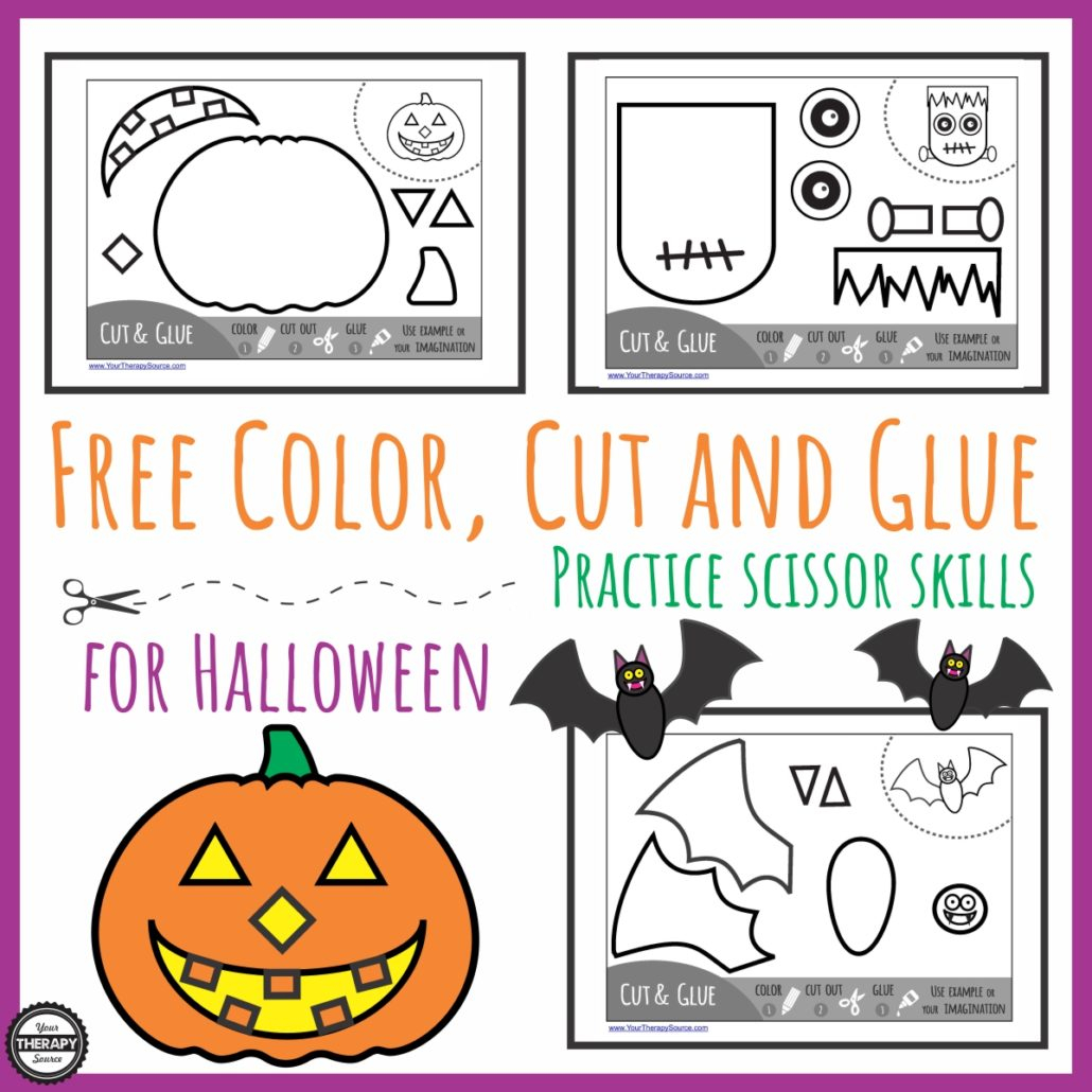 Color Cut Glue Halloween - Practice Scissor Skills - Your