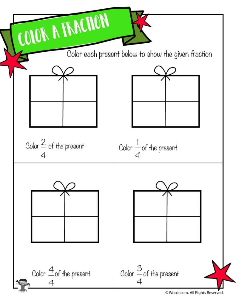 Color The Fraction Worksheet With Christmas Presents | Woo