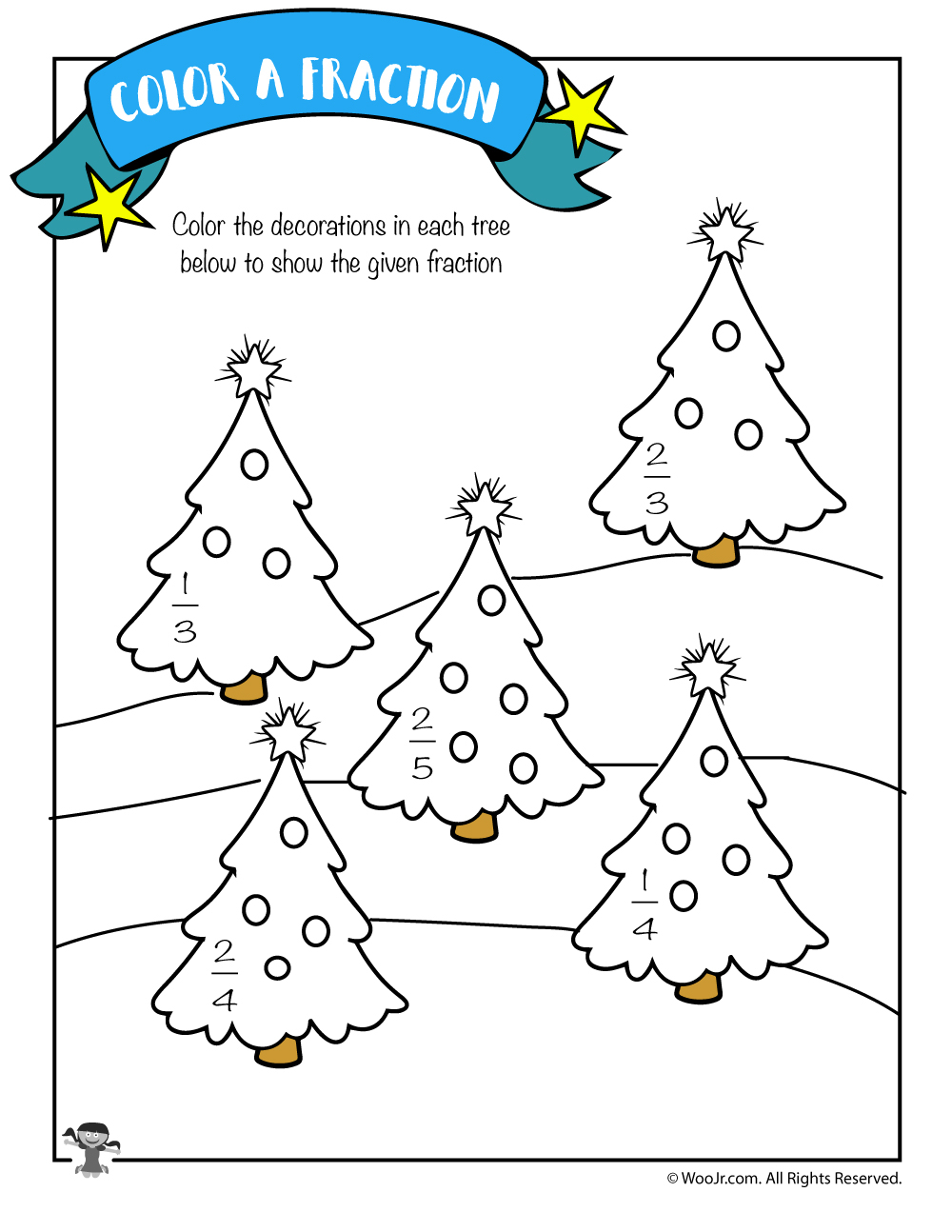 Color The Fraction Worksheet With Christmas Trees | Woo! Jr