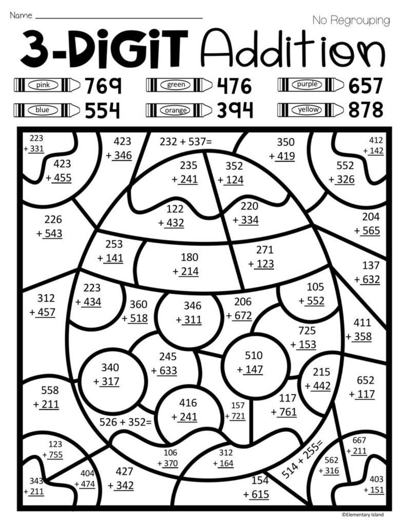 Coloring Pages : Easter Spring Three Digit Addition Color