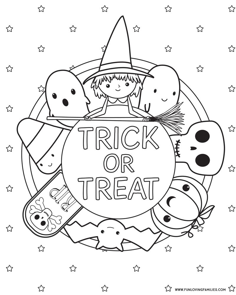 Coloring Pages Trick Or Treat Sheets Free Halloween