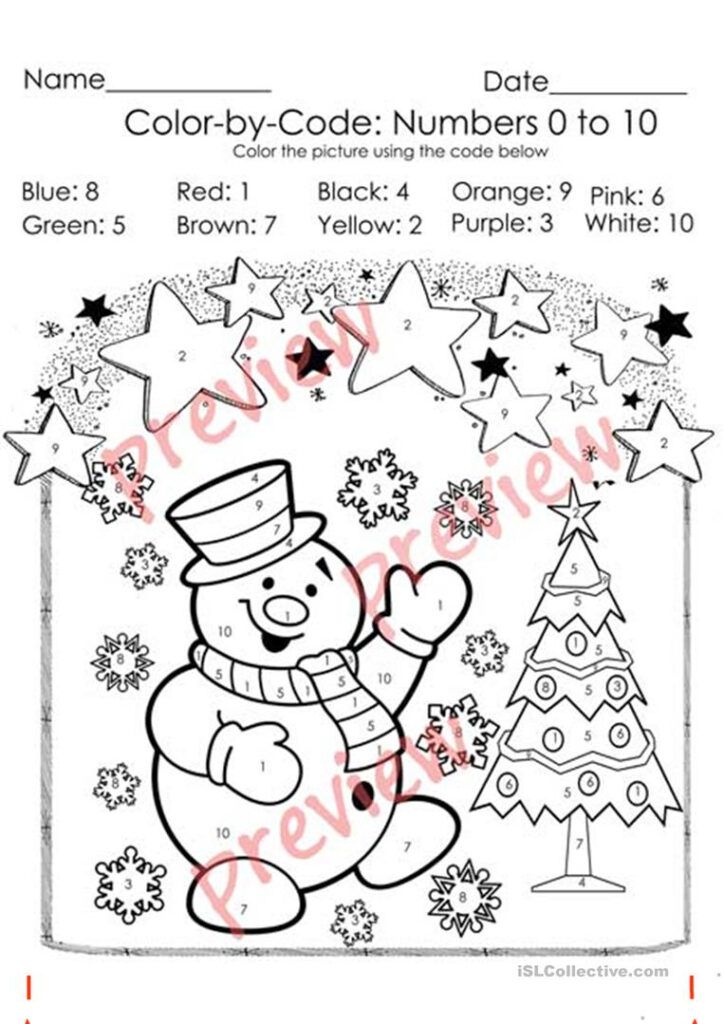 Coloring Pages Worksheets Sheet Christmaslor Byde Numbers