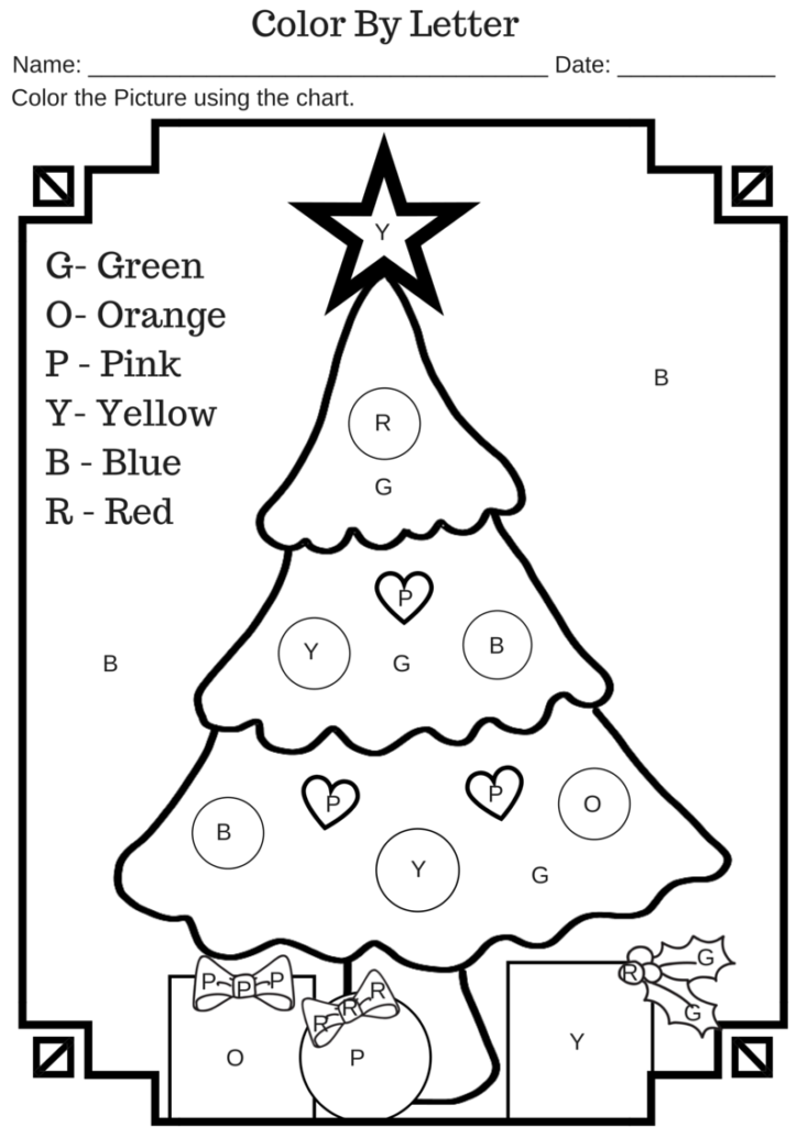 Colorletter Christmas Tree Free Printable Worksheet