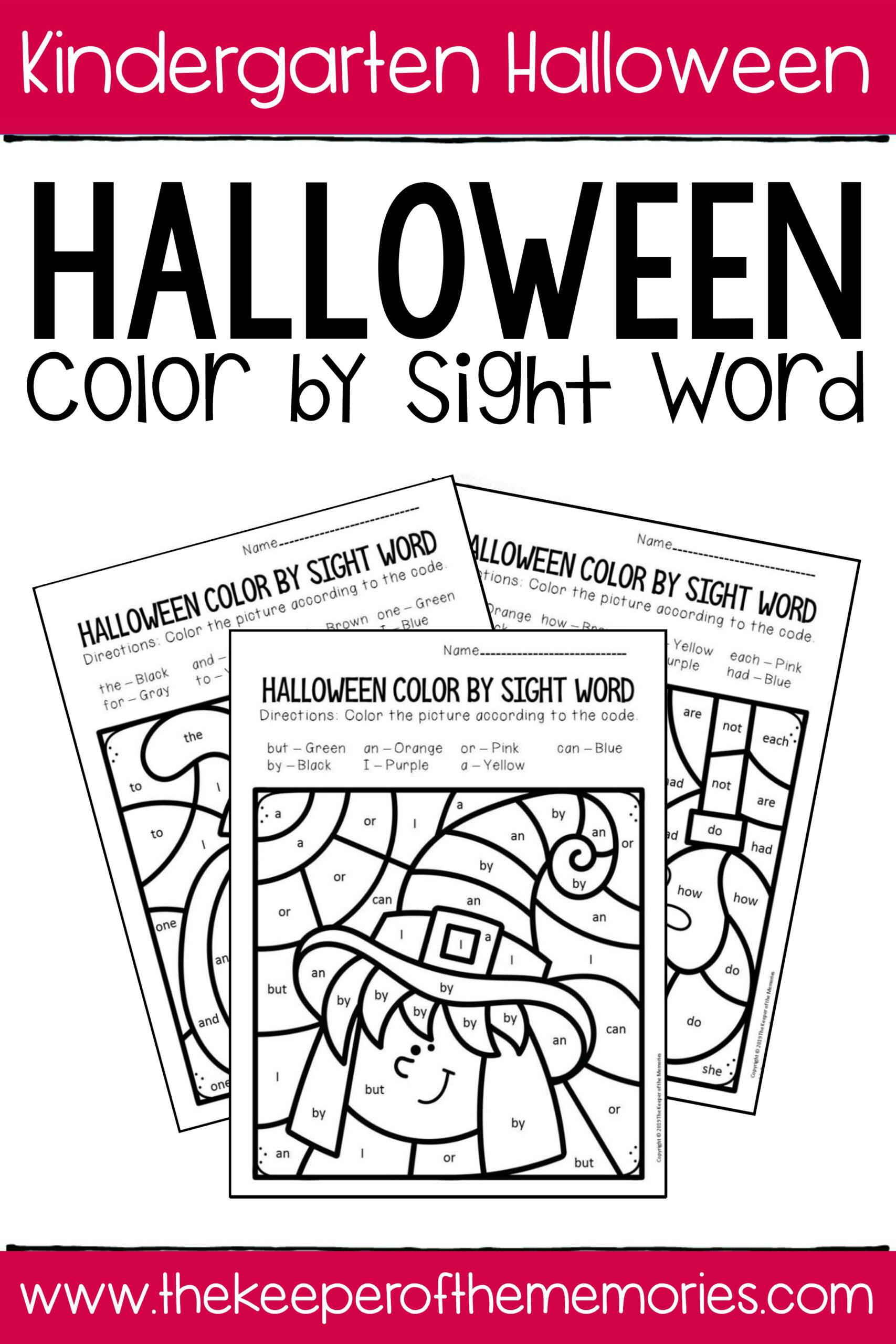 Colorsight Word Halloween Kindergarten Worksheets
