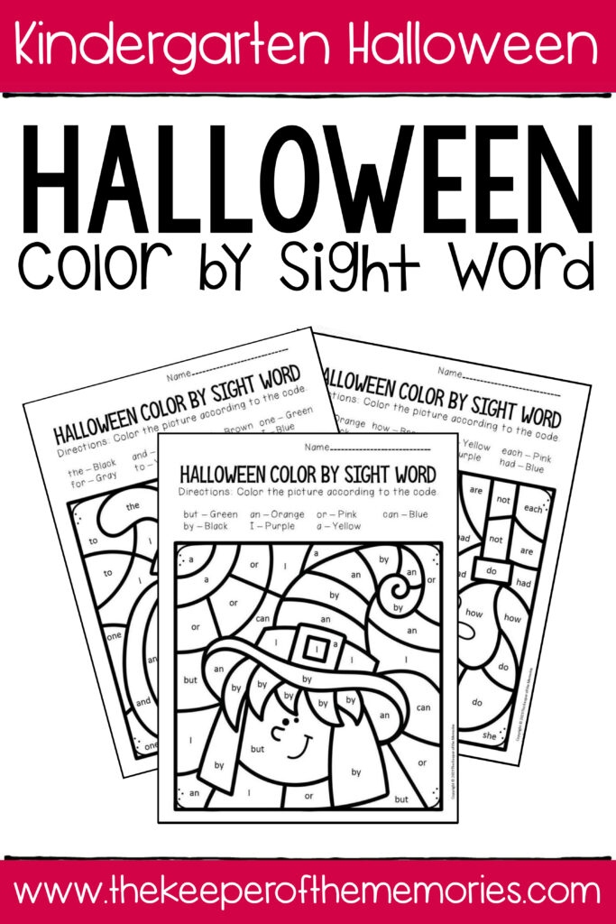 Colorsight Word Halloween Kindergarten Worksheets
