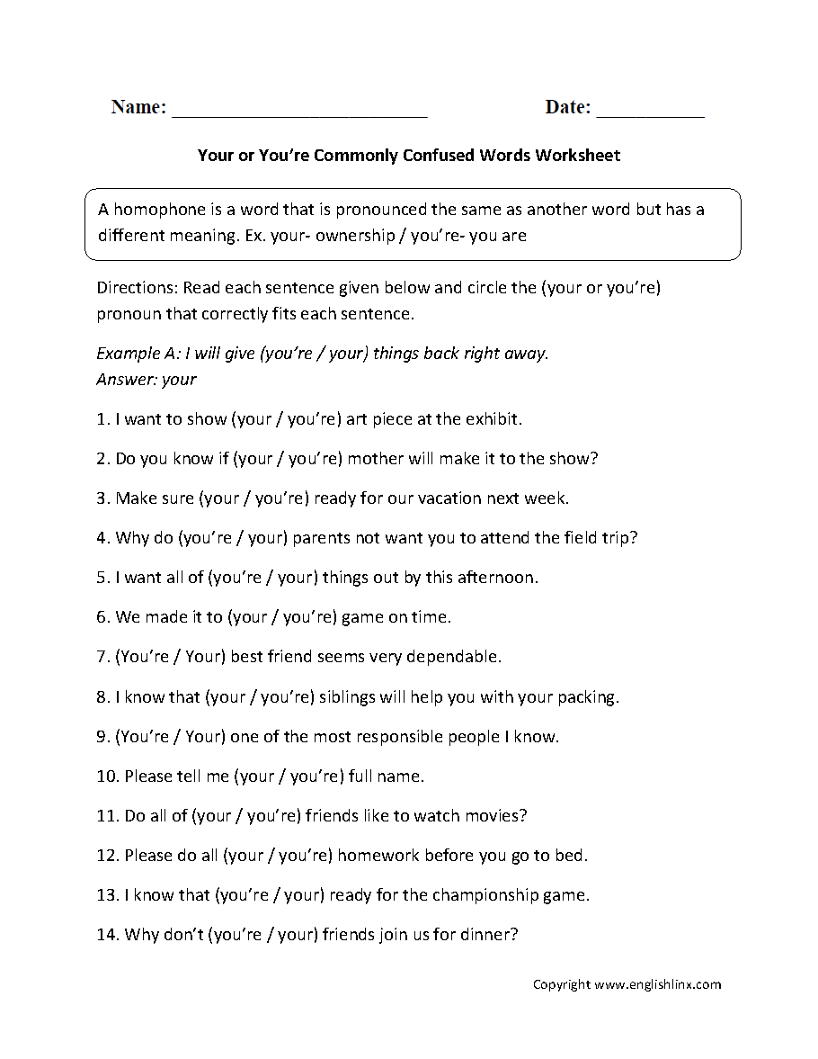 Commonly Confused Words Worksheets | Your And You're