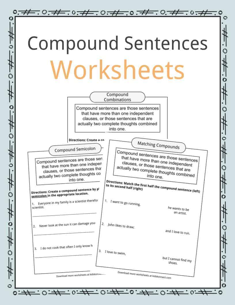 Compound Sentences Worksheets, Examples & Definition For Kids